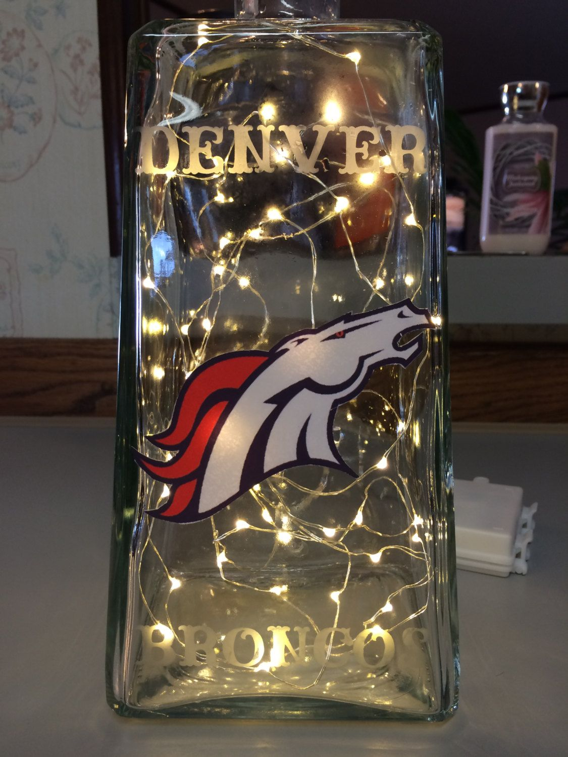 Denver broncos lighted bottle by lexielanecreations on etsy