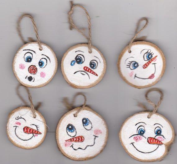 Handgemalte Miniatur Weihnachtsbaum Ornamente dumme Schnee Mann Gesichter Acrylbild Urlaub Dekor #weihnachtsbastelnnaturmaterialien