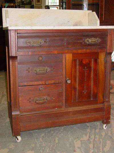 Eastlake Furniture Designs | Antique Eastlake Solid American Black Walnut  Marble Top Washstand .