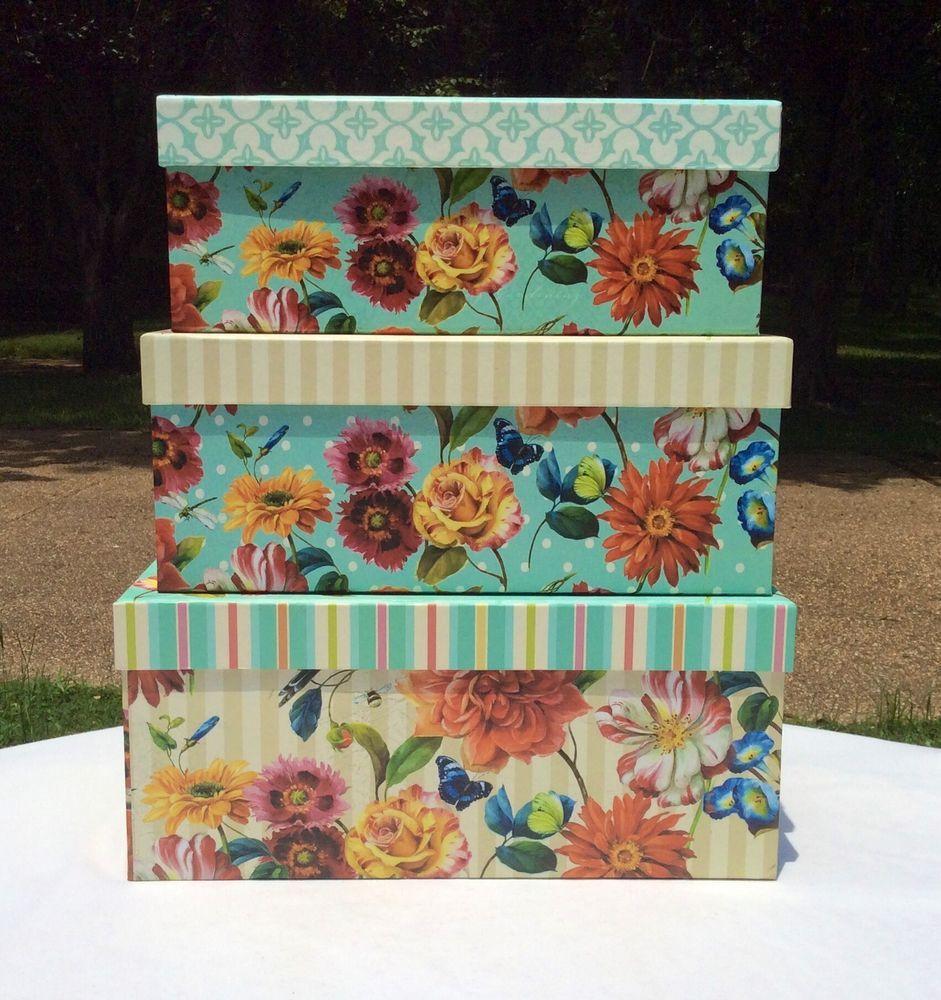 Box · Floral Garden Keepsake Nested Decorative Storage ...