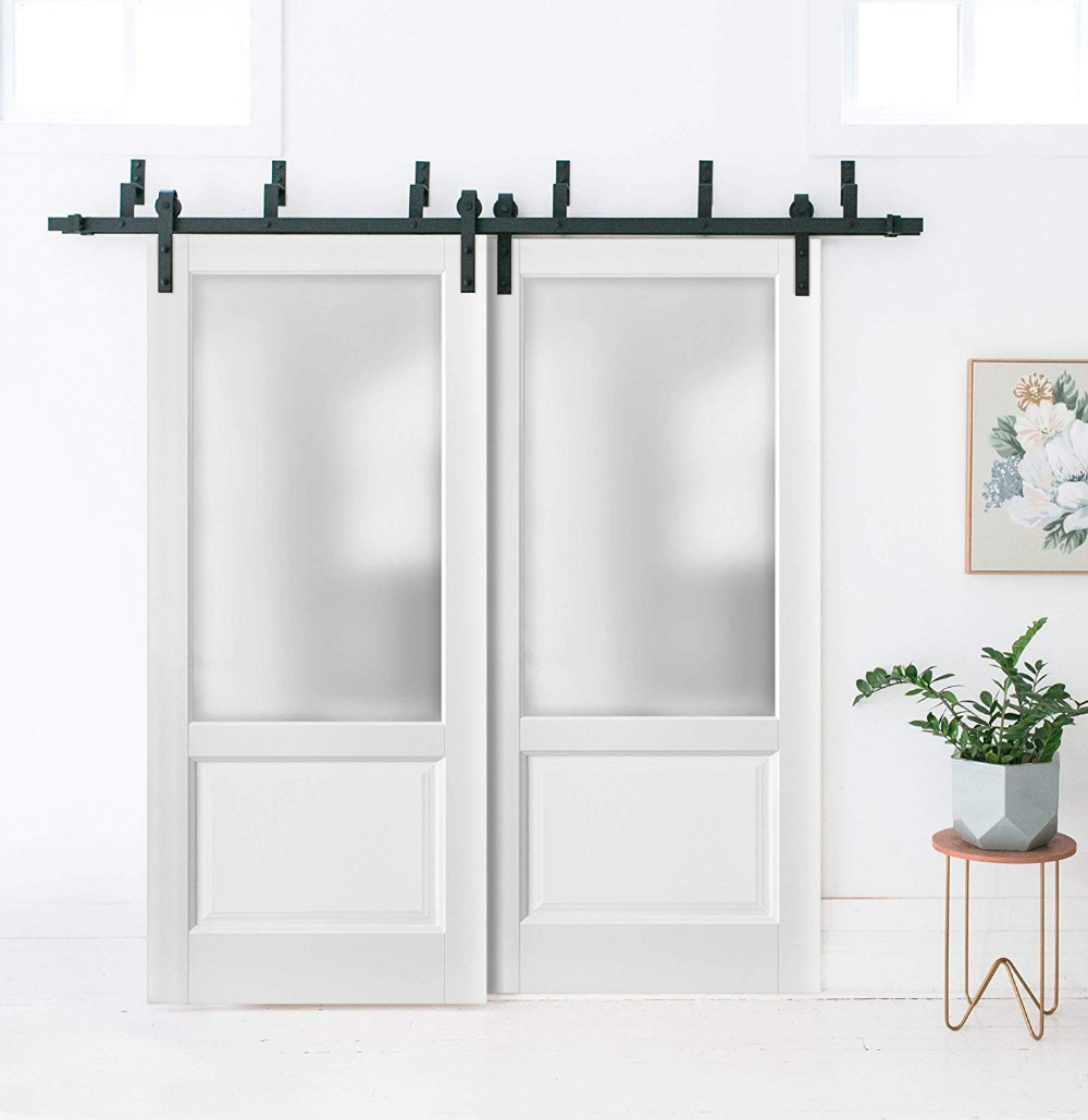 Lite Slab Barn Door Panel 32 X 80 Lucia 22 Matte White With Frosted Opaque Glass Sturdy Finished Wooden M Closet Doors Sliding Closet Doors Closet Makeover