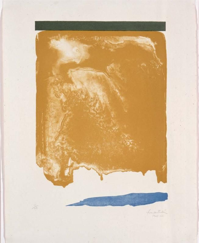 Helen Frankenthaler -- I have always been intrigued by her paintings, since I first studied her in college.  This one reminds me of a big ol' jar of peanut butter!  Hey, it's not a sophisticated analysis, but it's how I feel when I enjoy this piece of art.