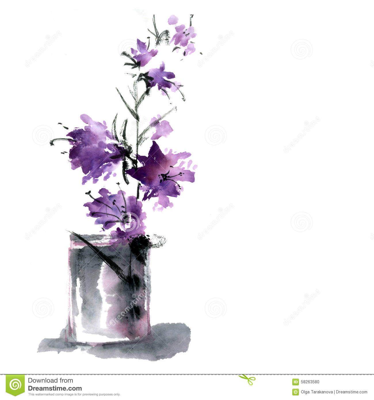 Flower vase watercolor ink illustration style sumi e u sin flower vase watercolor ink illustration style sumi e u floridaeventfo Images