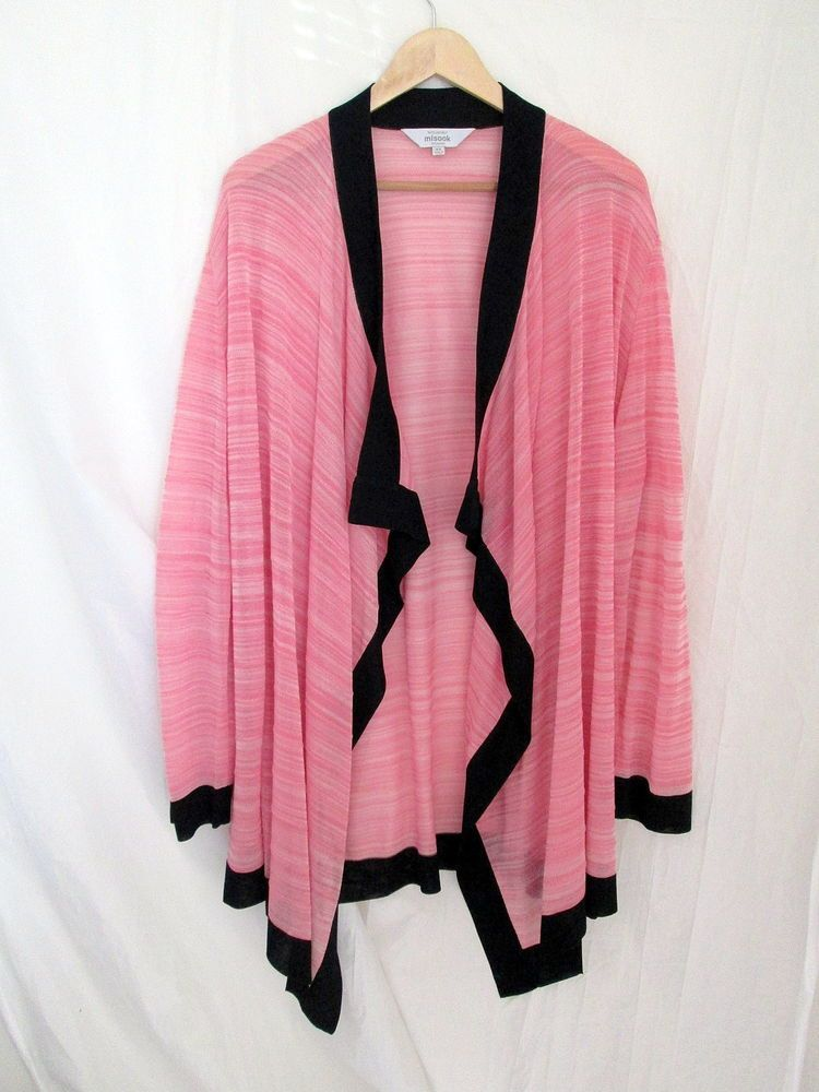 Exclusively Misook Plus Size 3X 26W 28W Pink Sheer Cascade ...