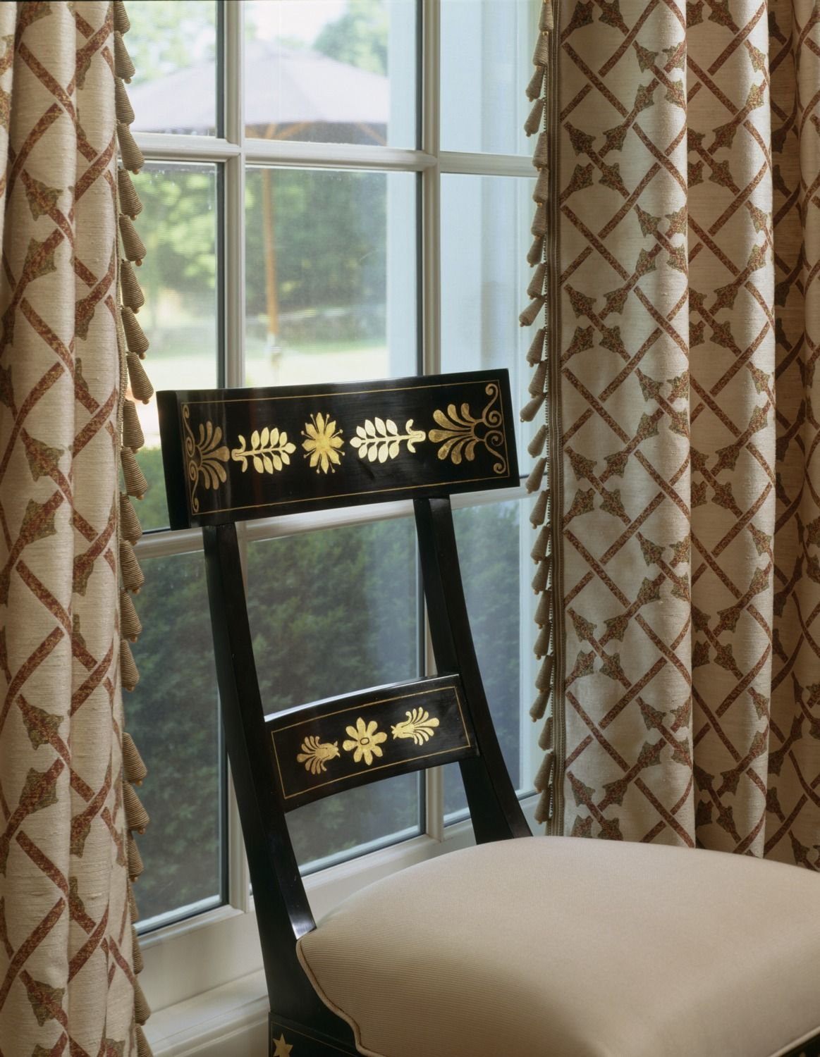 Details Curtains with blinds, Dining room chairs, Window