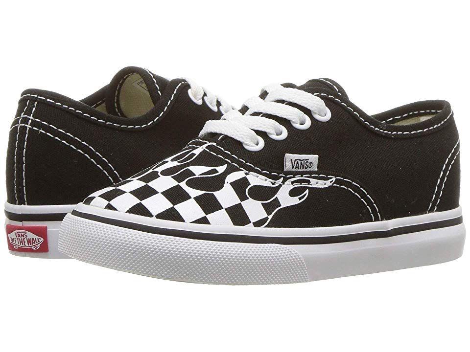 662e776fe6 Vans Kids Authentic (Toddler) Boys Shoes (Checker Flame) Black/True ...