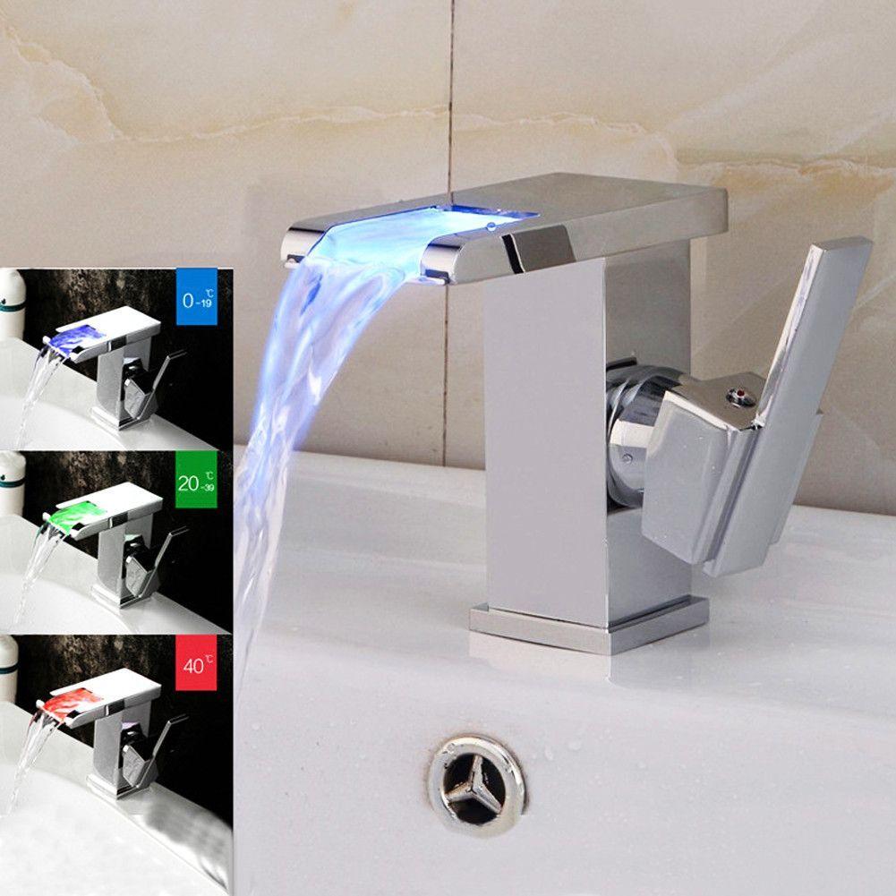 LED RGB Colors Basin Sink Faucet Deck Mount Temperature Sense Brass ...