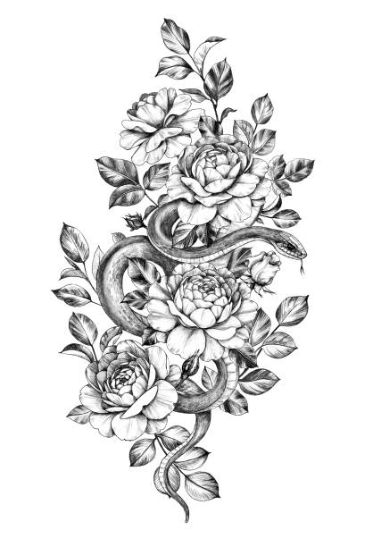 Snake Flower Tattoo Google Search Snake Tattoo Design Flower Thigh Tattoos Floral Thigh Tattoos