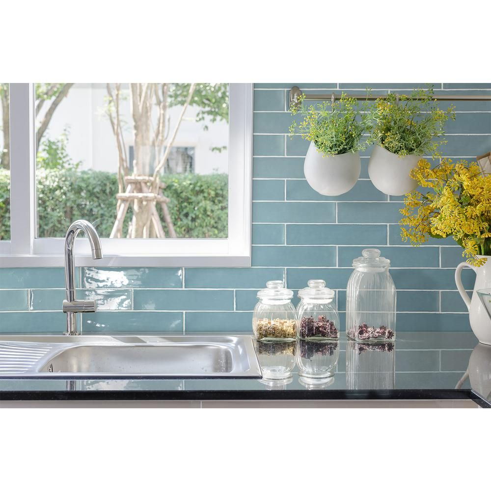 Daltile Artigiano Roman Skyline 3 In X 12 In Glazed Ceramic Wall Tile 5 28 Sq Ft Blue Tile Backsplash Kitchen Kitchen Backsplash Trends Ceramic Wall Tiles