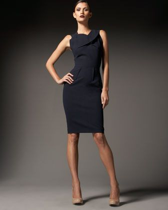 Manon Draped-Neck Sheath Dress by Roland Mouret.
