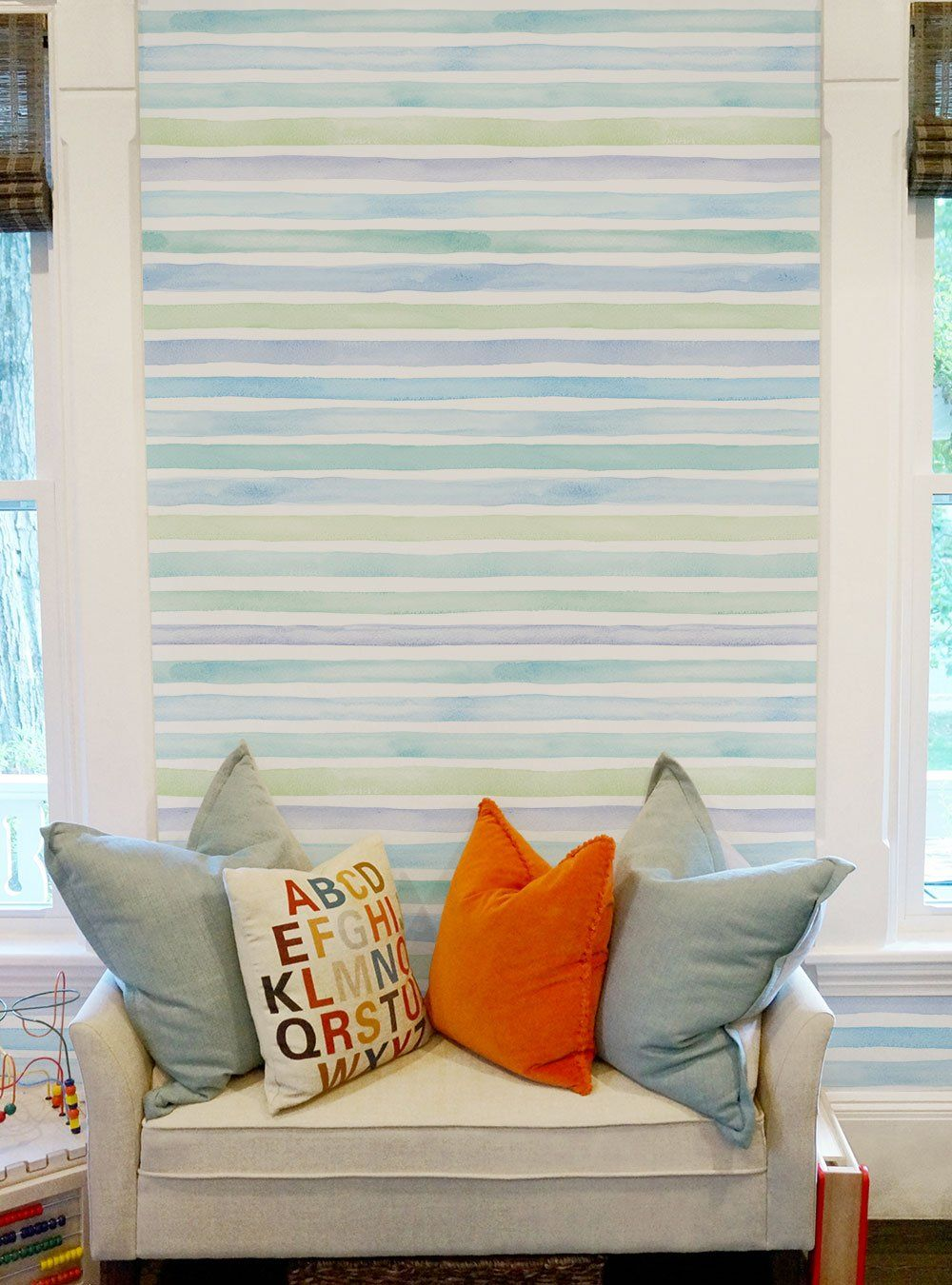 Watercolor Stripes Wallpaper Peel And Stick Striped Wallpaper