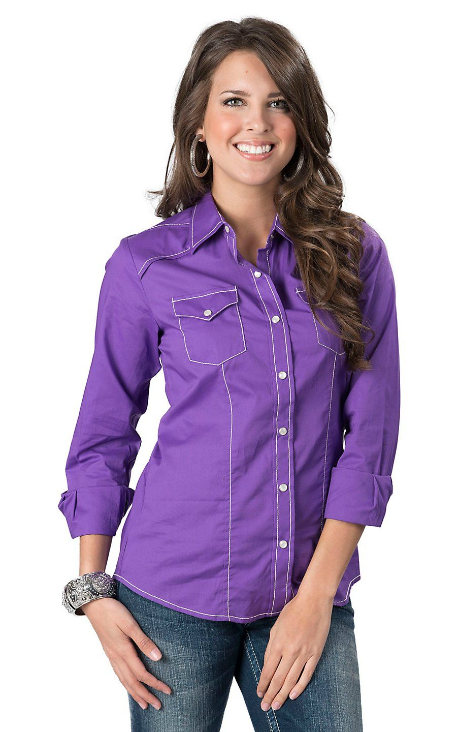 Cruel Girl Women's Purple Long Sleeve Western Snap Shirt | Women's ...