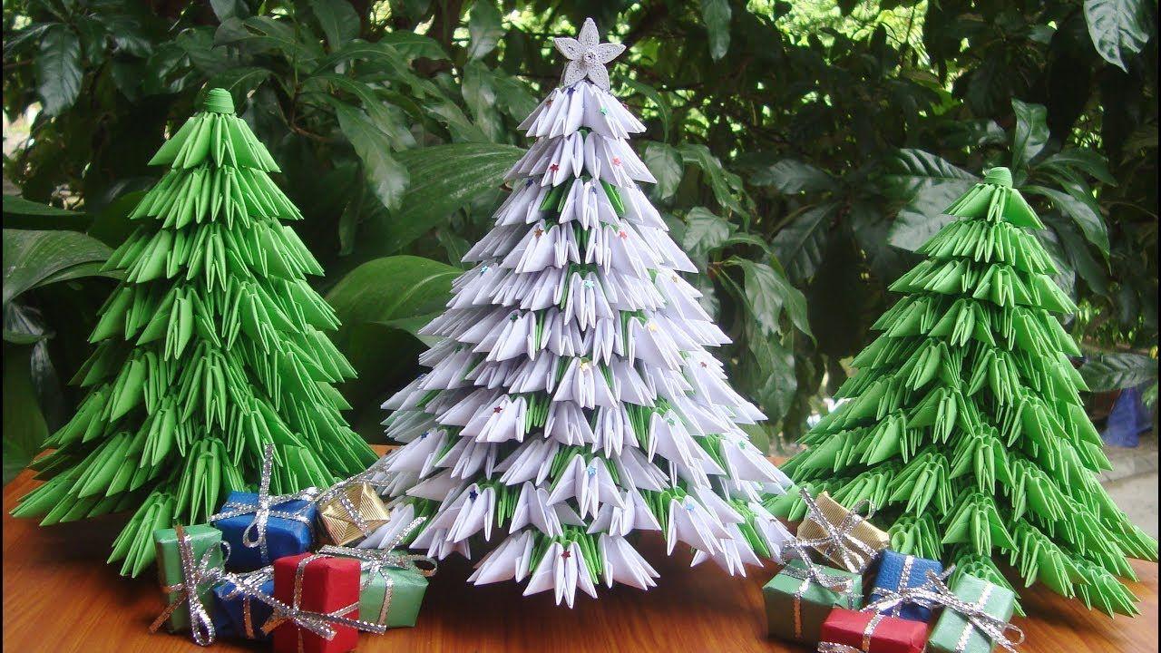 D Origami Christmas Tree V Tutorial DIY Paper Christmas Tree