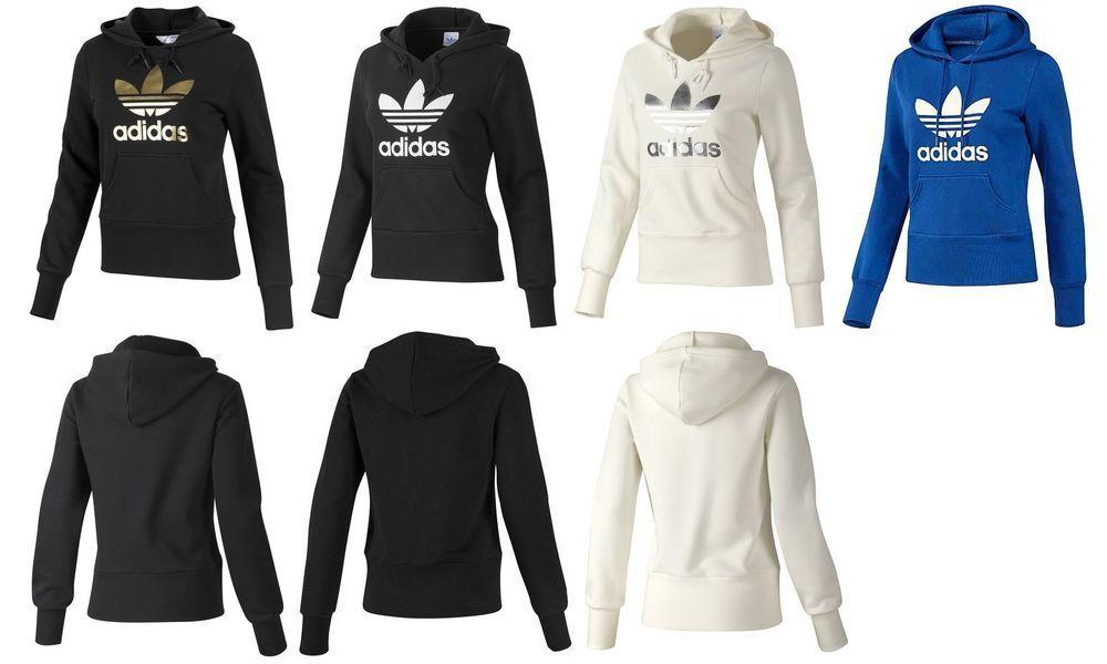 Adidas Originals Womens Trefoil Hoodie Black White Blue Gold