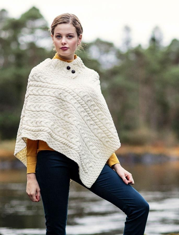 Cable Aran Poncho With Button Detail