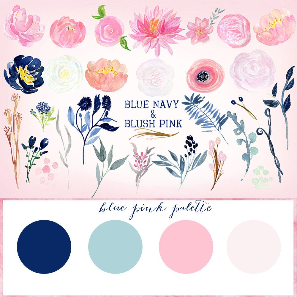 Navy Blue Blush Pink Flowers Watercolor Clipart Blog Header