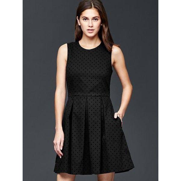 Gap Women Polka Dot Fit & Flare Dress ($80) ❤ liked on Polyvore featuring dresses, regular, true black, black dress, polka dot skater skirt, fitted dresses, gap dresses and skater skirt