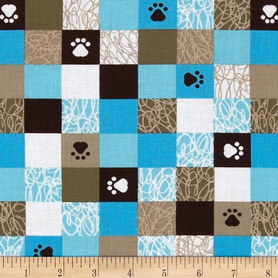 Kanvas Doodle Dog Paw Aqua Brown Doodle Dog Dog Quilts