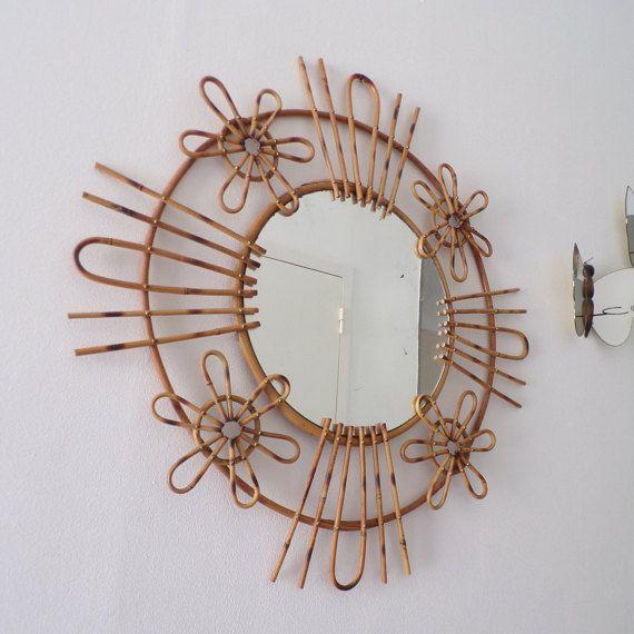 Grand miroir fleur français vintage 1960 by popvintages on etsy