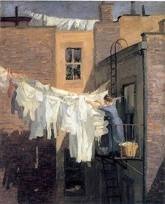 John Sloan (1871-1951) Woman's Work 1912: I really, really miss hanging clothes out to dry..all whites together, all colors together...baby clothes together..I miss :-)