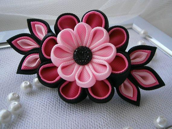 handmade kanzashi fabric flower grosgrain by. Black Bedroom Furniture Sets. Home Design Ideas