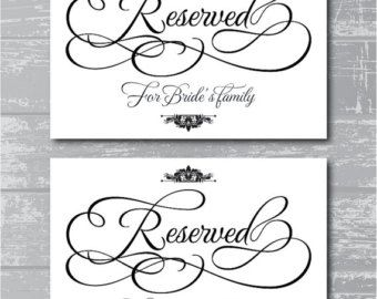Reserved Sign Template For Wedding