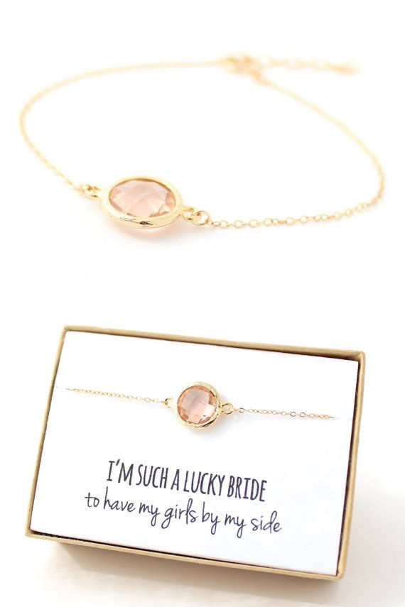 Peach Champagne Gold Circle Bracelet Peach and Gold Bracelet