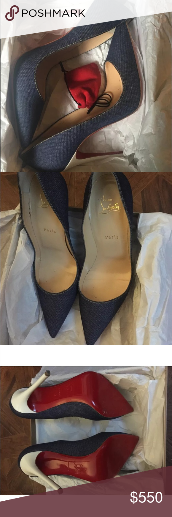 Christian louboutin denim heels Size 41 but fit a US 10. Like new shoe. Great deal... You will fall in love with this shoe Christian Louboutin Shoes Heels