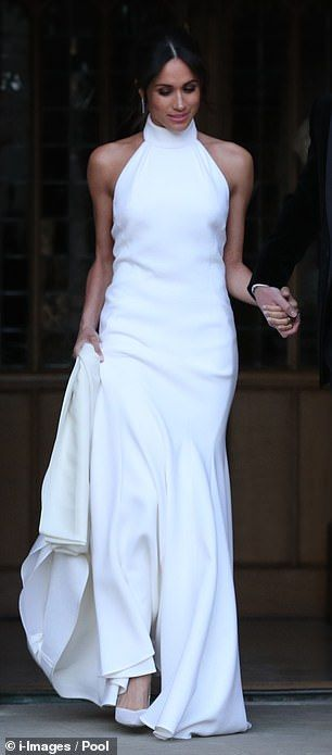 27f040f90 Eugenie s evening dress was a far cry from the Stella McCartney number  Meghan wore for her evening reception at Frogmore House back in May