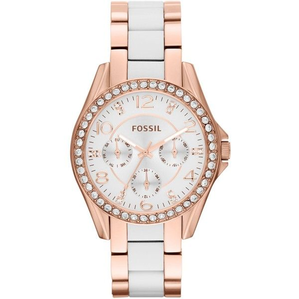 Fossil Women's Riley White and Rose Gold-Tone Stainless Steel Bracelet Watch 38mm ES3528 $155