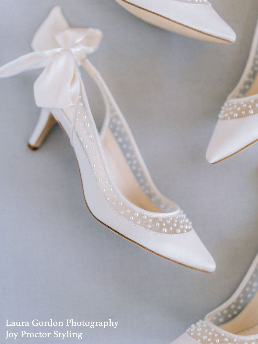 Pearl Slingback Low Heel With Bow In 2020 Bridal Shoes Low Heel Wedding Shoes Heels Kitten Heel Wedding Shoes