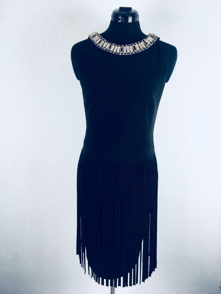 Kleid Designer Frank Lyman Kanada Cocktailkleid Strass Größe 36 Schmuck  Stresssteine Fransenlook Festkleid Party Feier 55252576a0