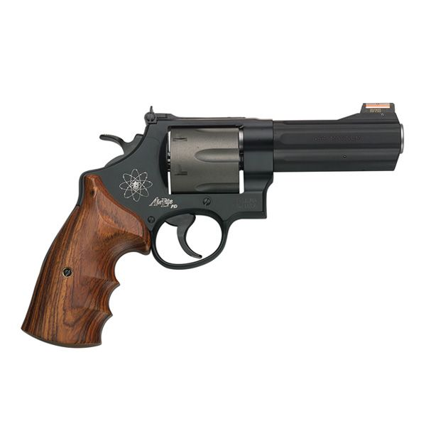 Smith & Wesson Model 329PD, lightweight .44 Magnum.  Needs porting and night sights, please.  And maybe a coating to cover up all those funny logos and colours.  And fat X-frame Hogue grips.