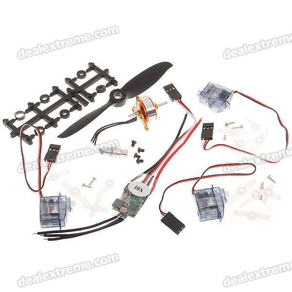 A1504/2700KV Brushless Motor + 10A BEC + 2.5g Steering Servo * 3 + 4.1 *4.1E Motor Shaft Set. Package included: