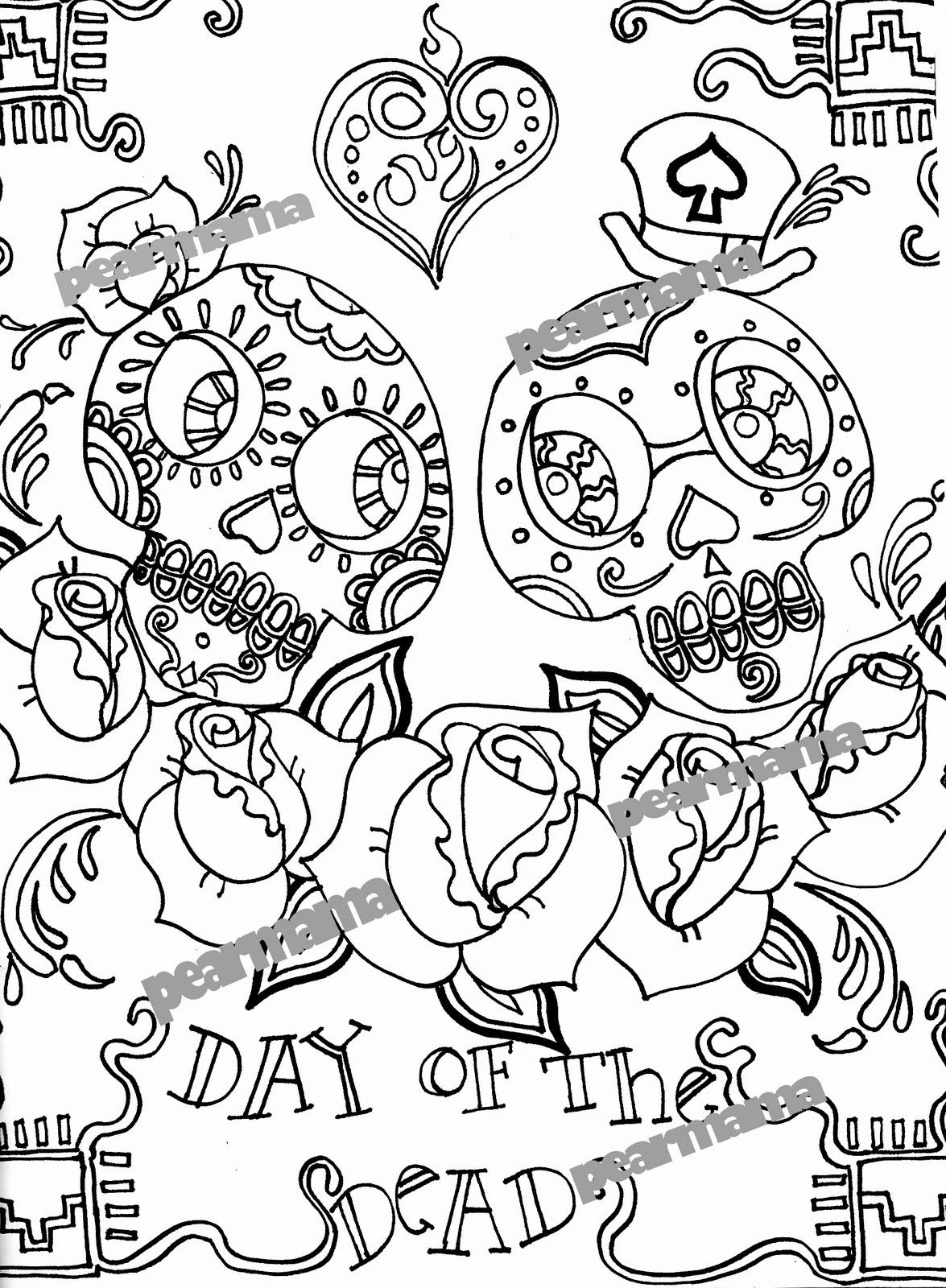 Day Of The Dead Printable Coloring Pages