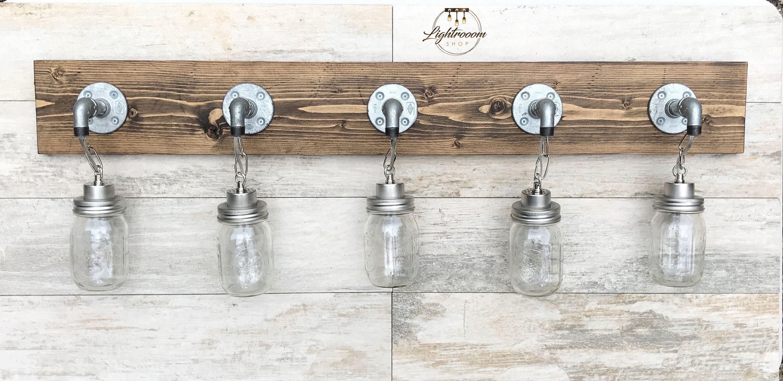 Photo of Vanity Light Fixture, Country-Style Mason Jar Light, Wall Light, Pendant Fixture, Bathroom Fi…