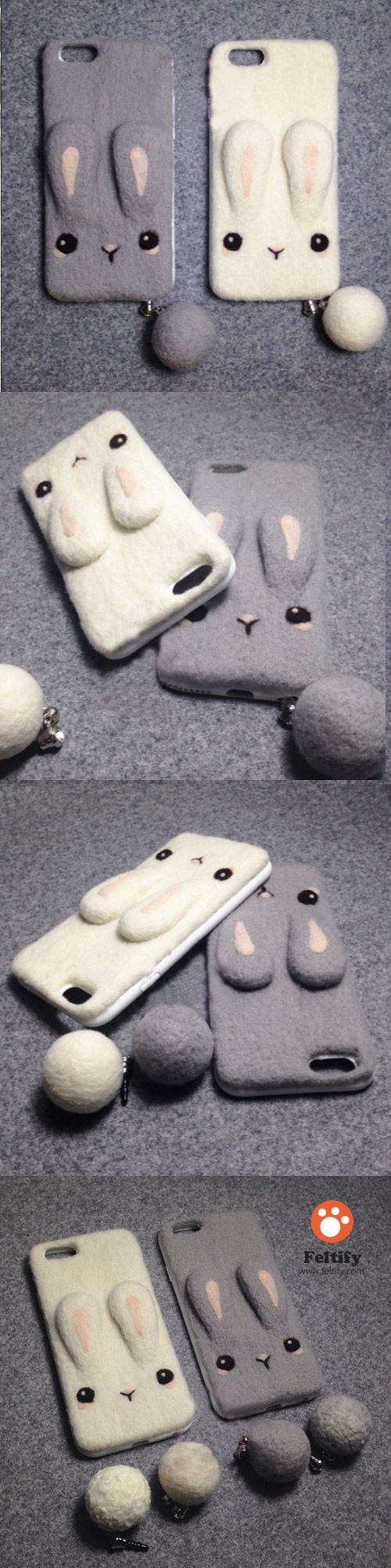 Handmade needle felted felting cute animal project bunny iphone case #needlefeltedbunny