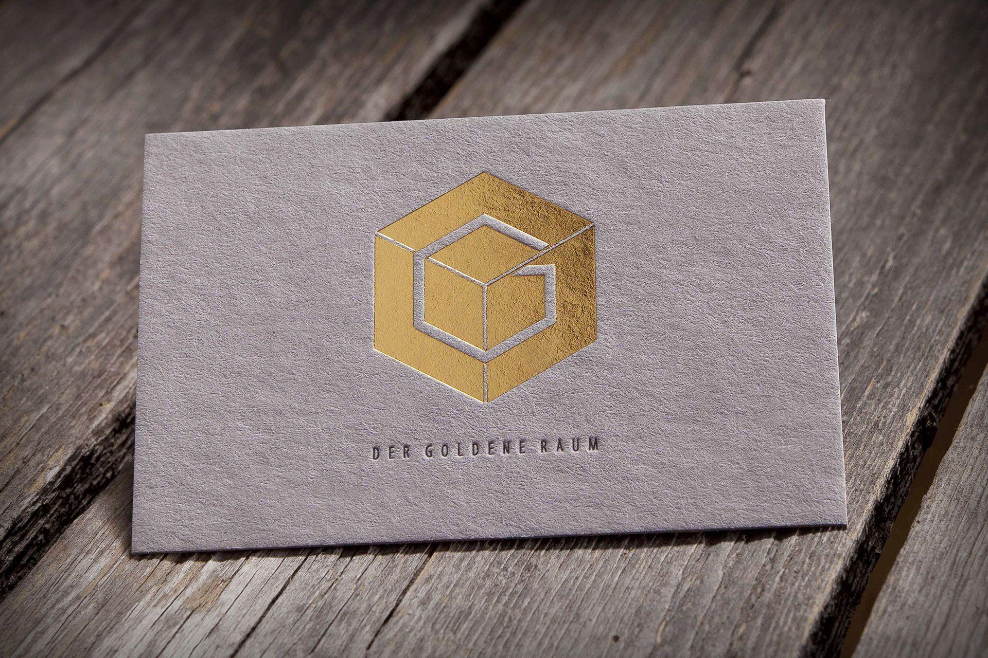 Der Goldene Raum Visitenkarten Heißfolienprägung Und