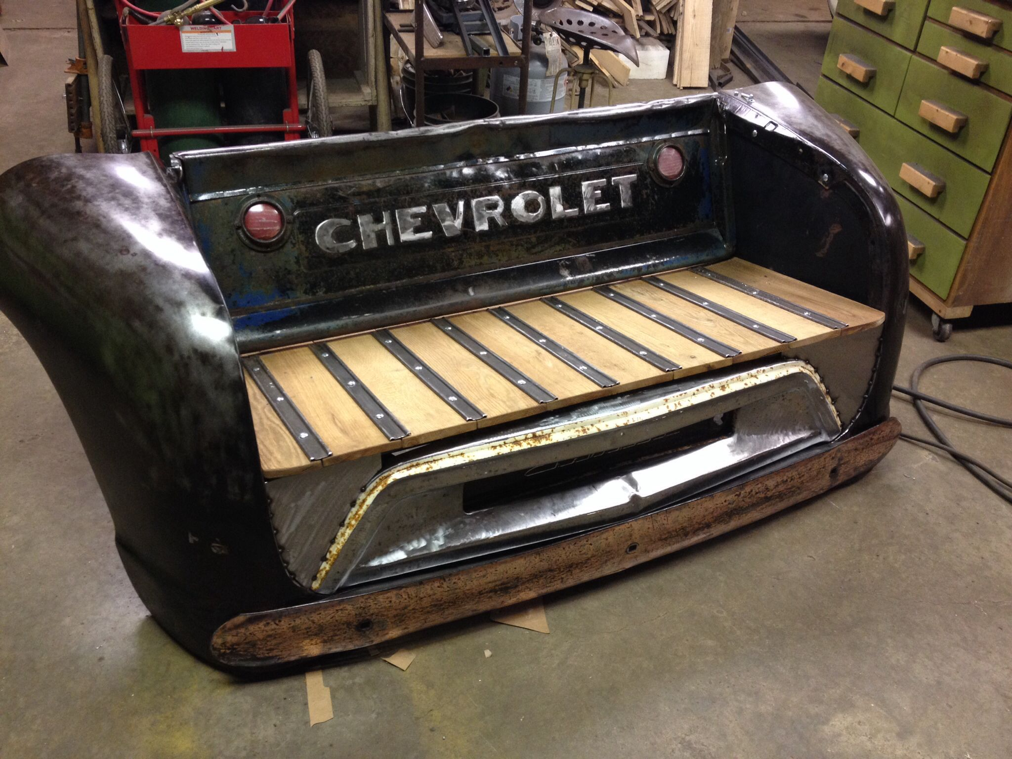 Custom made bench from vintage truck parts for sale for Furniture made from cars