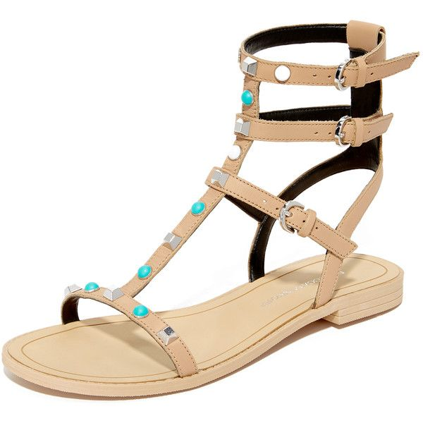 Rebecca Minkoff Georgina Too Studded Sandals (8,355 INR) ❤ liked on Polyvore featuring shoes, sandals, low heel sandals, multi colored gladiator sandals, small heel sandals, leather sandals and greek sandals