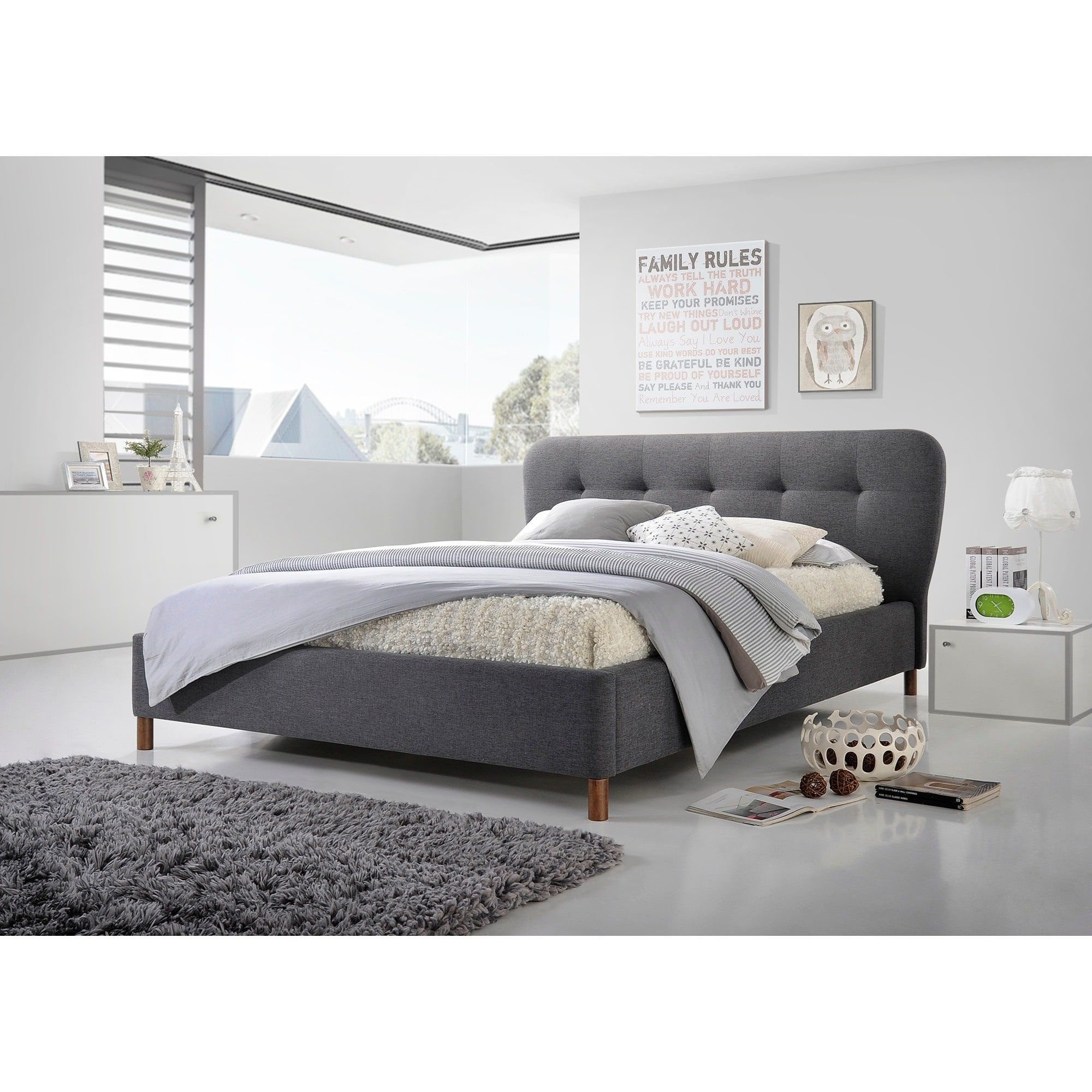 Baxton Studio Gennadios Mid-century Modern Tufted Platform Bed (Full ...
