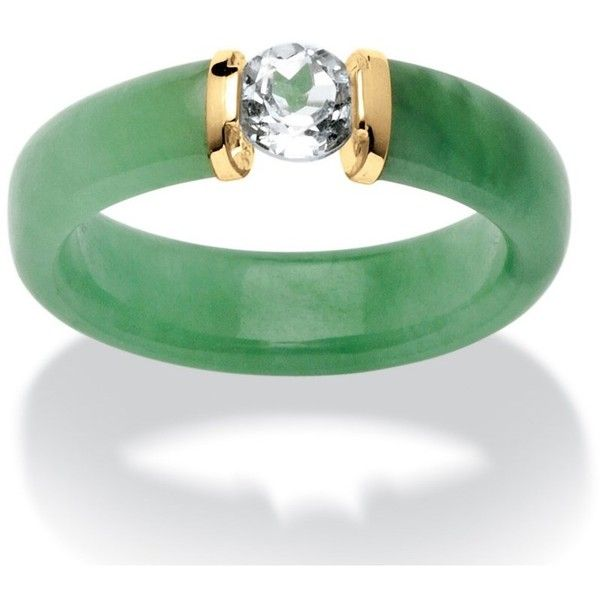 Palmbeach Jewelry .56 Tcw White Topaz And Jade Ring In 10k Gold... ($80) ❤ liked on Polyvore featuring jewelry, rings, green, green gold ring, gold jewelry, gold anchor ring, jade jewelry and gold jade ring