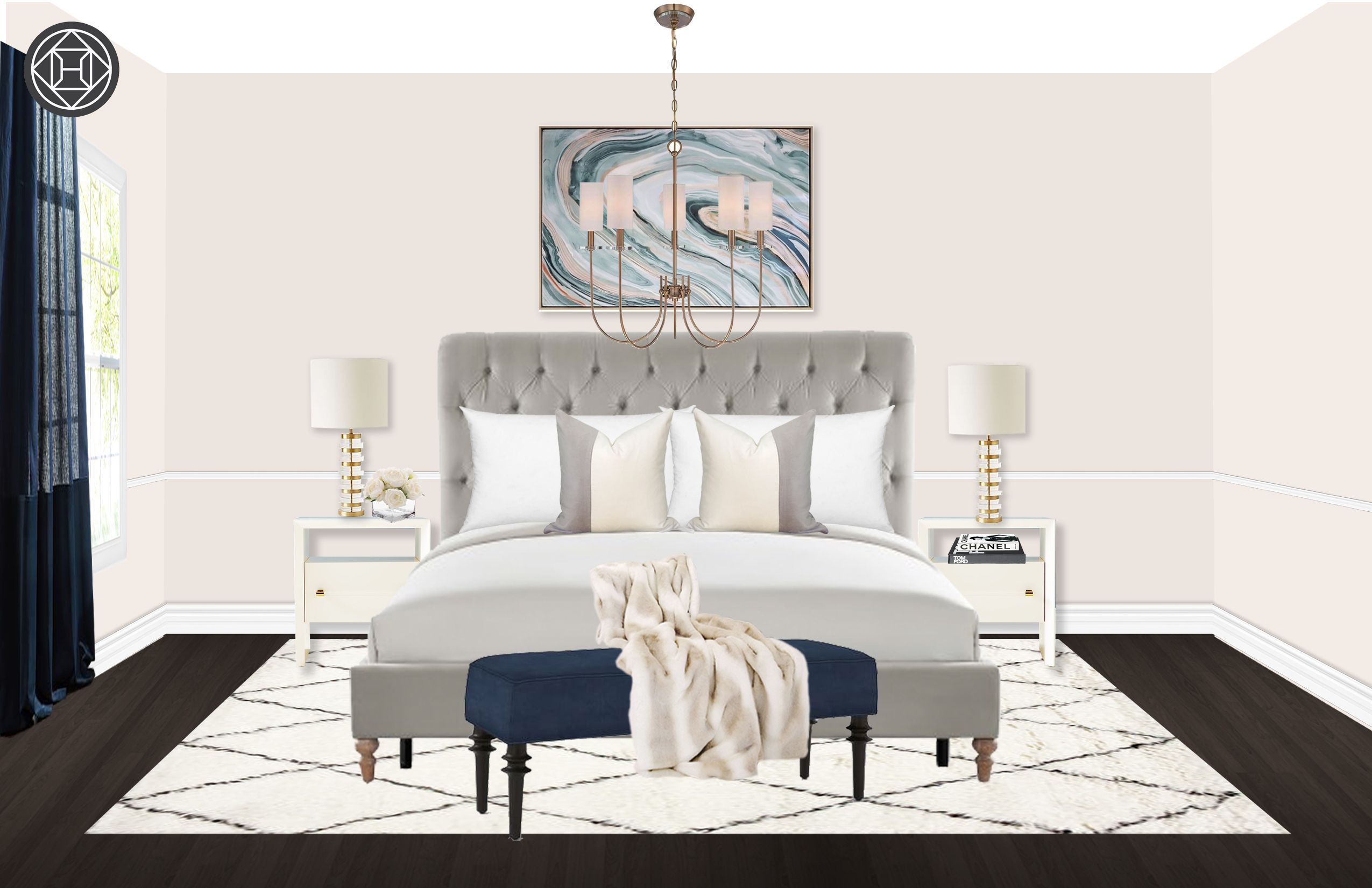 Contemporary Classic Transitional Bedroom Design by Havenly