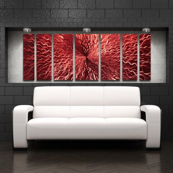 Cosmic Energy Red 68 X24 Large Red Candy Paint Modern Abstract Metal Wall Art Sculpture Wall Sculpture Art Abstract Metal Wall Art Large Metal Wall Art