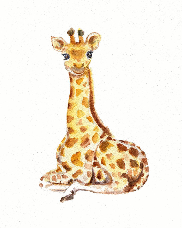Baby Giraffe watercolor print, nursery wall decor, giraffe nursery ...