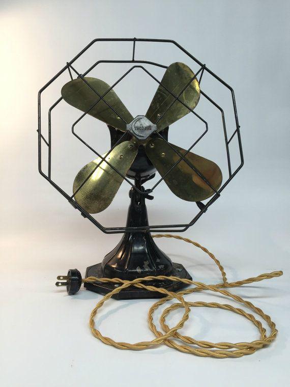 Antique Fan Crescent Electric Fan Antique by ModernArtifactDecor - Antique Fan, Crescent Electric Fan, Antique Desk Fan, Brass Electric
