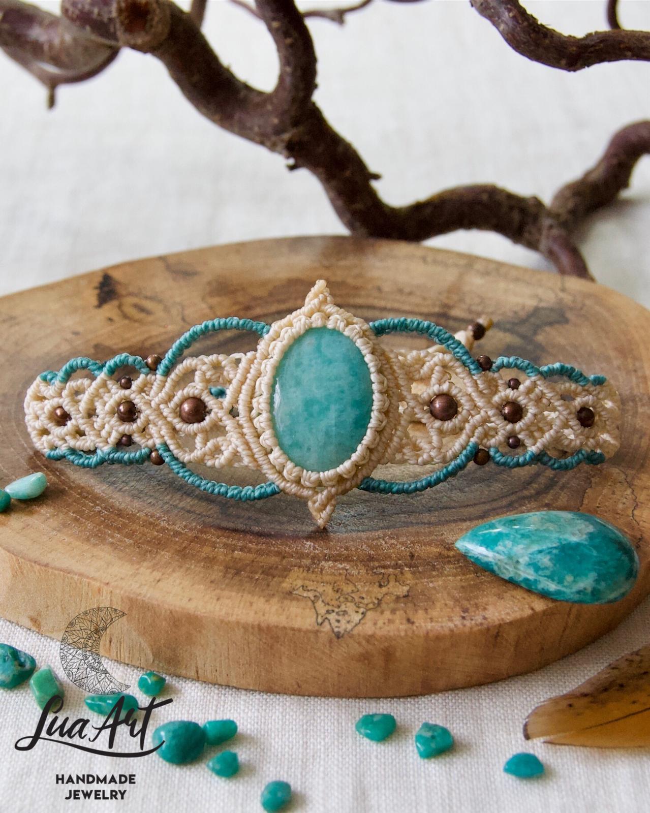 gemstone boho armlet Macrame bracelet with Amazonite stone and brass beads gypsy jewelry for women upper arm bohemian wedding jewelry