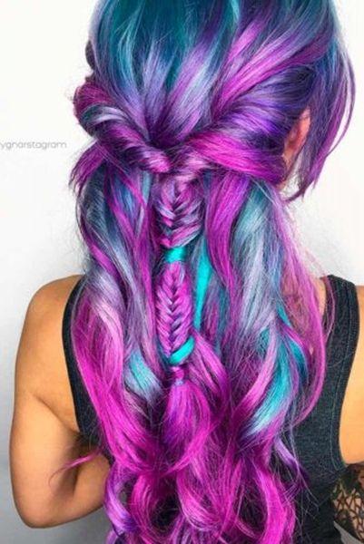 Die Meisten Bunte Trend Frisuren 2018,26-Lila-Blaue Haare-Modell,  #trendfrisure… – Frisuren
