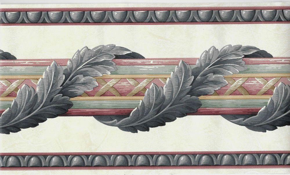 Architectural Blue Leaf Scroll On Stripe Wallpaper Border Striped Wallpaper Border Wallpaper Border Leave Pattern
