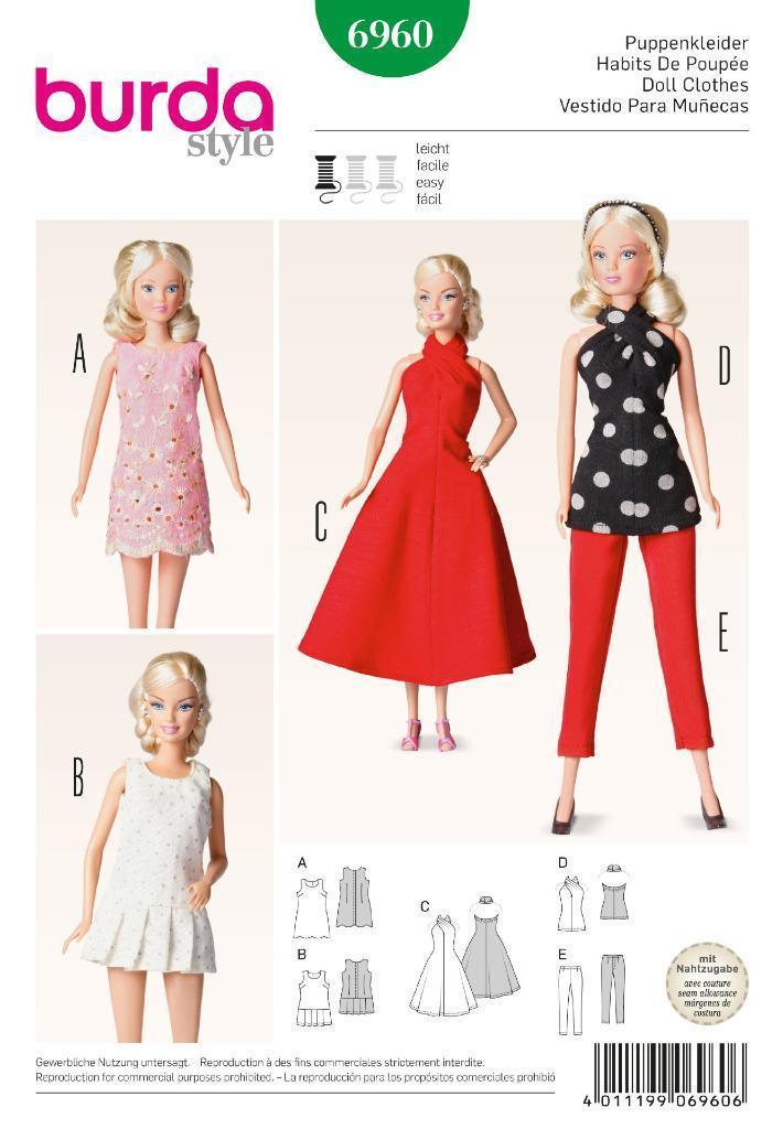 Details zu Burda Nähmuster Puppenkleidung Abendkleid Kleid 6960 ...